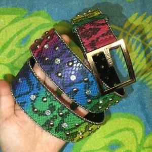 Rainbow Python Print Studded Belt